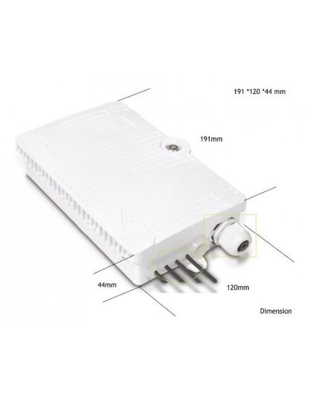 Caja F.O. de Exterior IP-65 CON LLAVE para 4 SC Simplex - LC Duplex