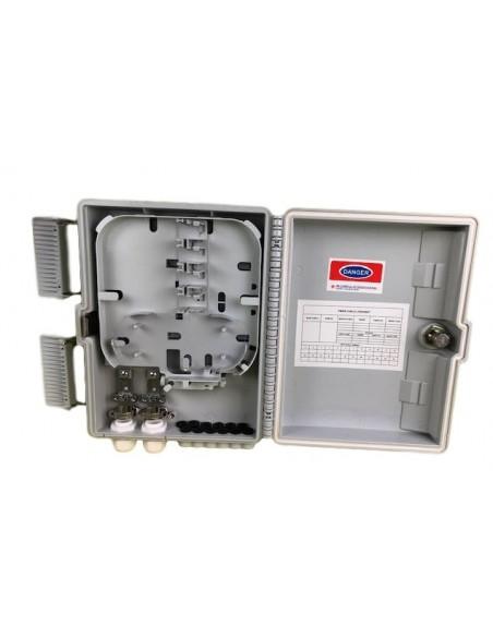 Caja F.O. de Exterior IP-65 CON LLAVE para 12 adaptadores SC Simplex - LC Duplex 7