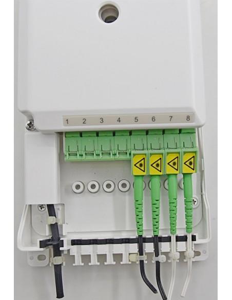 Caja F.O. de distribución y empalme para 8 SC Simplex - LC Duplex 2