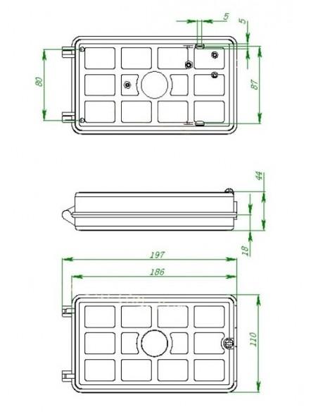 Caja de empalme de Fibra Óptica para 12 fusiones y derivación FTTH 2