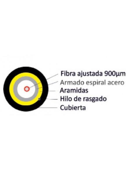 SECCION fibra optica 1 hilo Monomodo 9_125_900 G657A2 FTTh armado con espiral acero