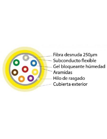 """SECCION fibra optica 8 hilos SM 250u"""" monotubo flexible tipo riser"""