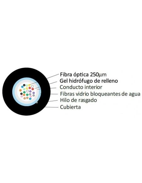 SECCION Fibra óptica 12 hilos monomodo G652D holgada  monotubo FV CPR Eca LSZH-FR negra