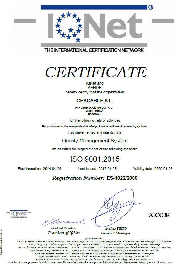 Certificado Calidad IQNET
